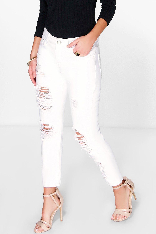 Mid Rise Distress Boyfriend Jeans white
