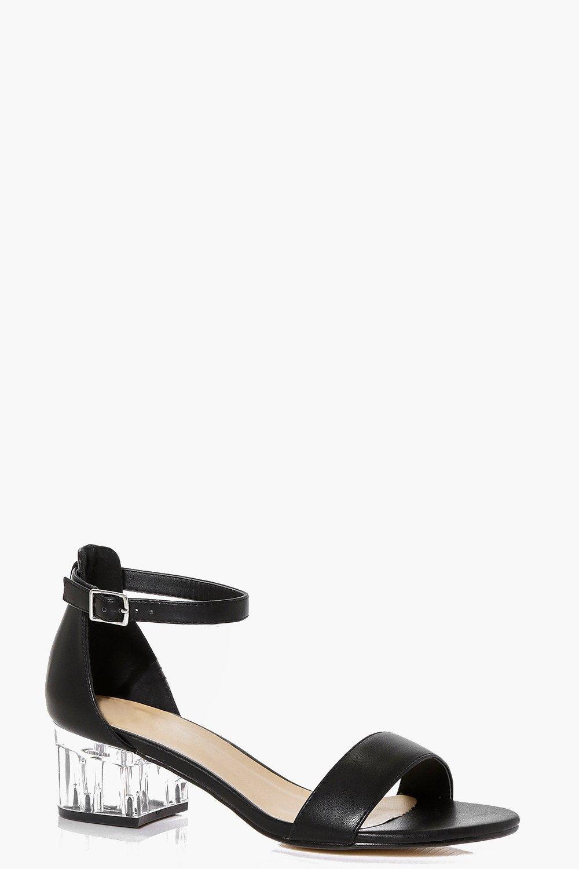 Violet Clear Low Block Heel Sandal