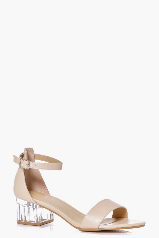 Violet Clear Low Block Heel Sandal