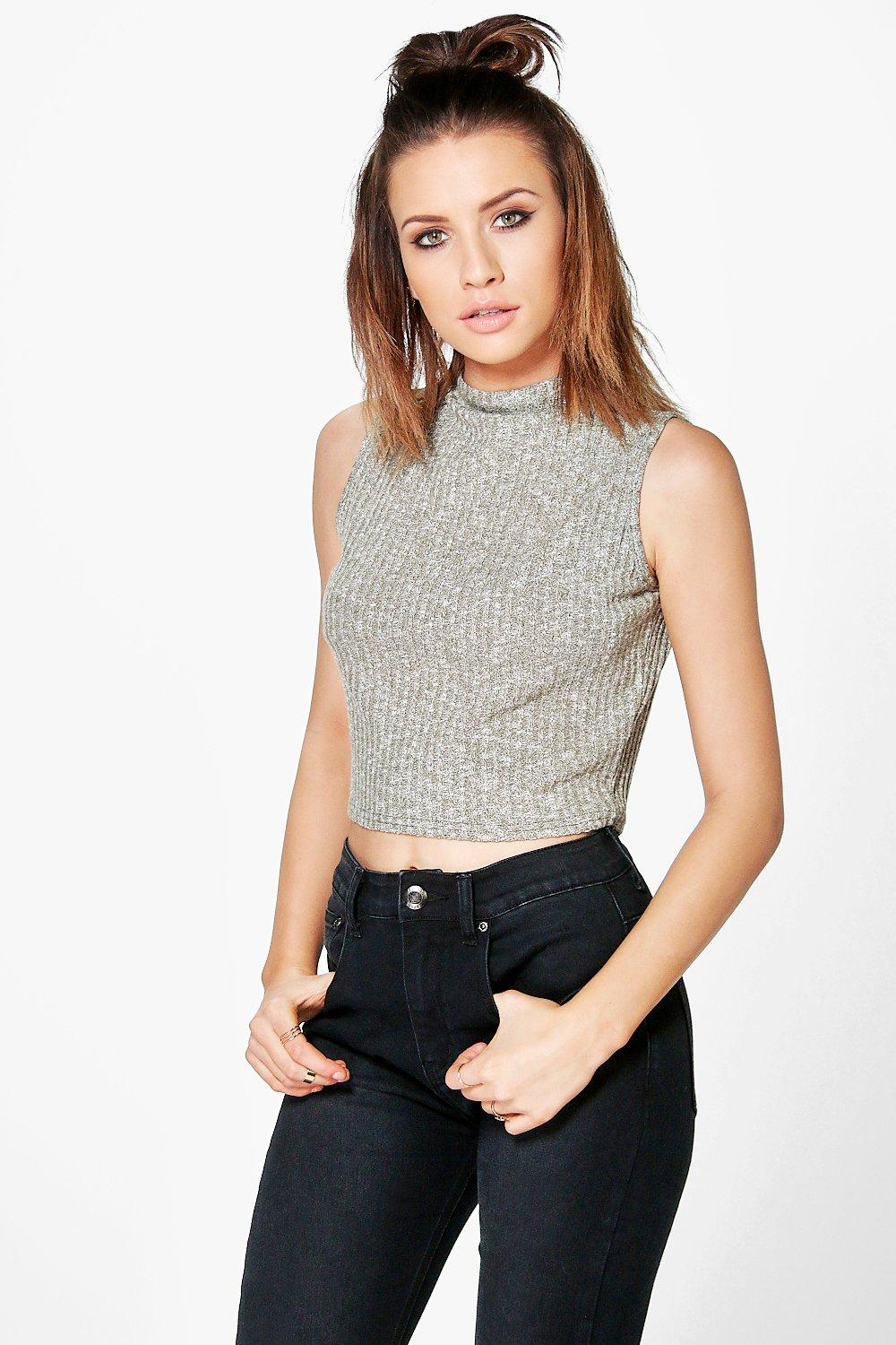 Eliza Funnel Neck Rib Crop Top