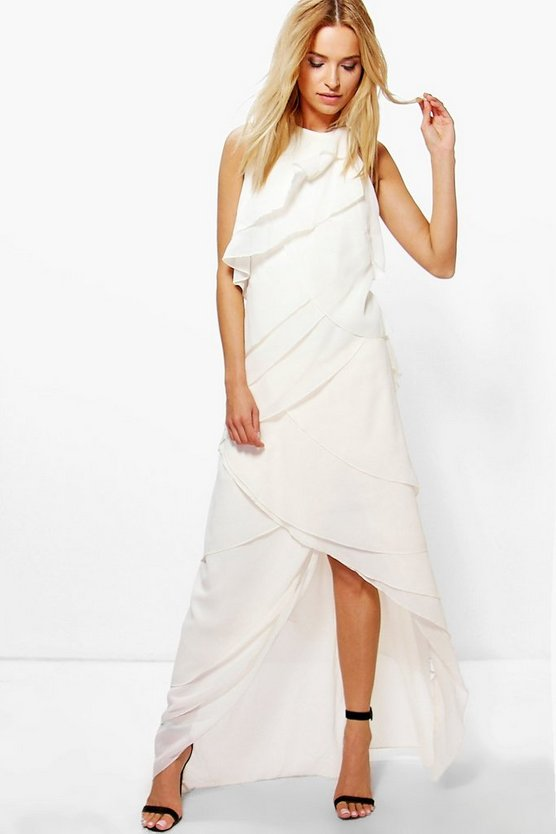 Boutique Liyu Chiffon Ruffle Halterneck Maxi Dress