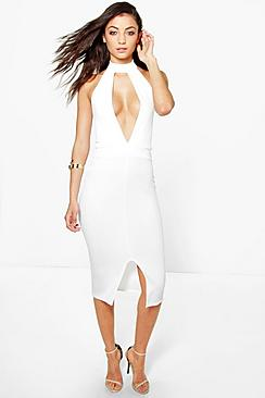 Tall Millie High Neck Plunge Front Midi Dress