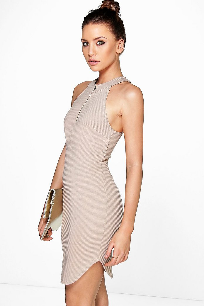 Kiera Zip Front Halter Neck Bodycon Dress