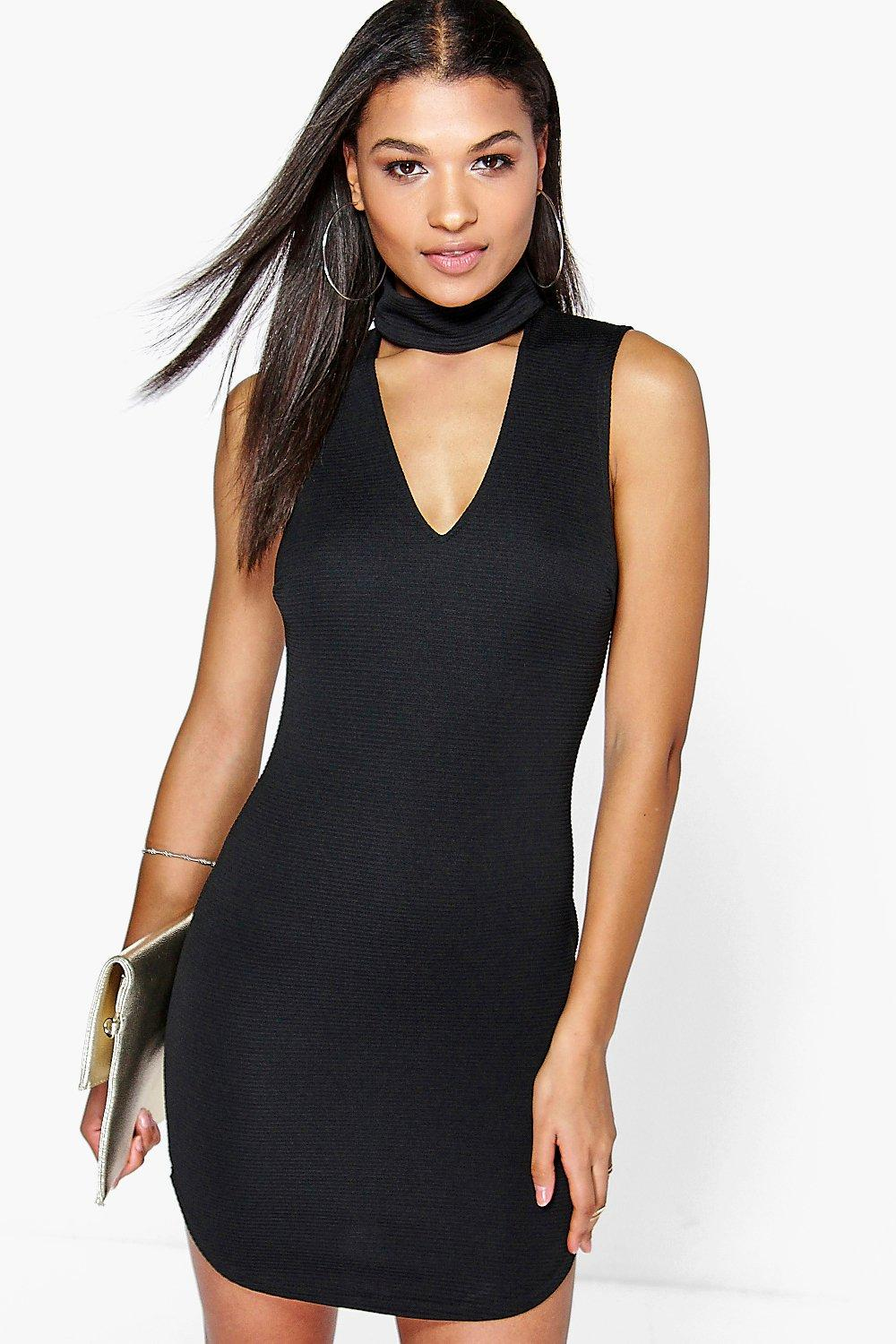 Khloe Cut Out Front Textured Bodycon Dress