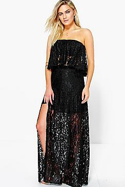 Perrie Wrap Front Corded Lace Maxi Skirt