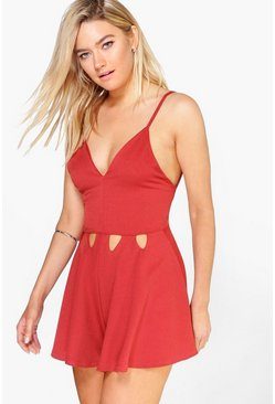 Sara Tie Strappy Cut Front Playsuit