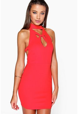 Hannah Cross Plunge Mini Dress