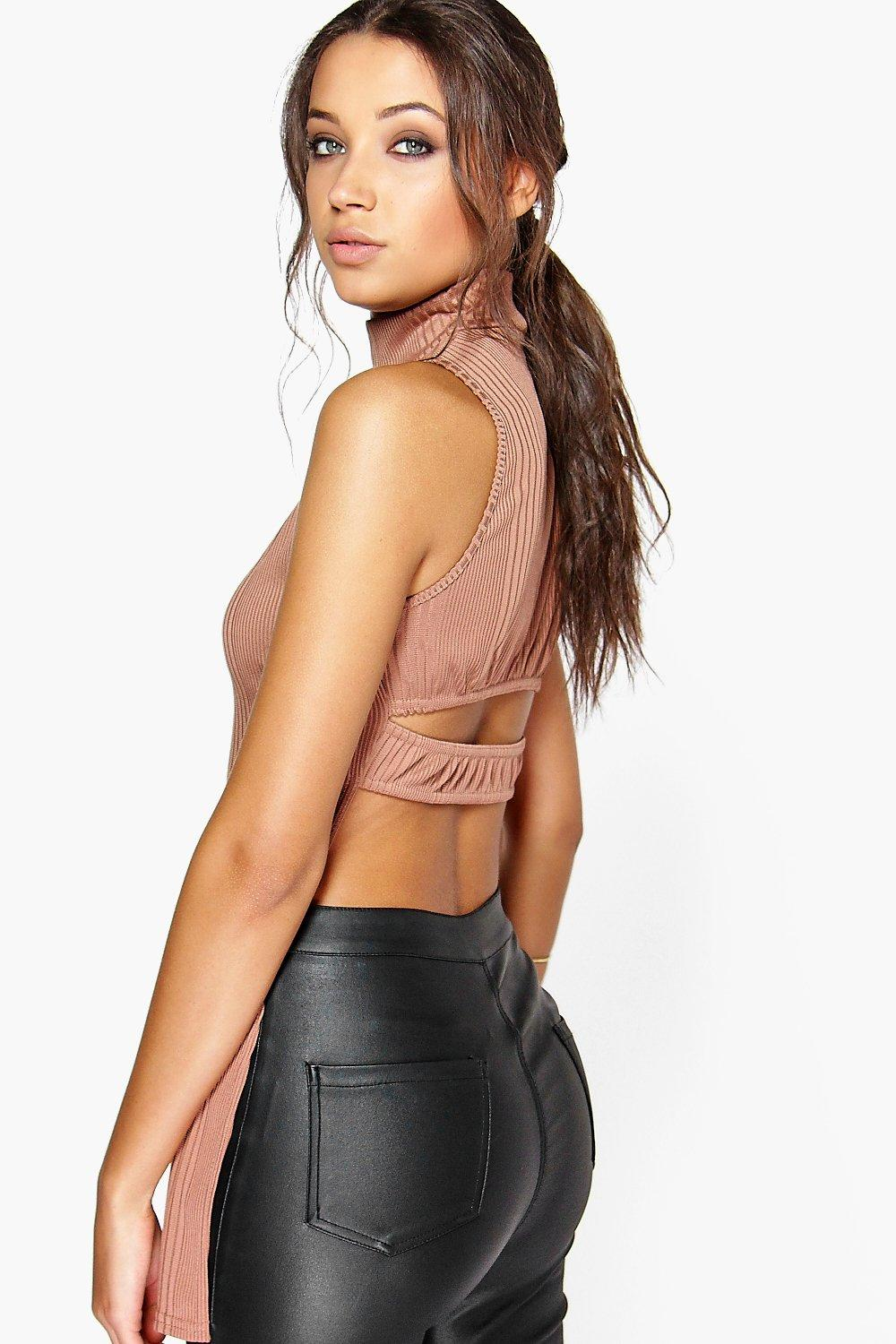 Holly Cut Out Back High Neck Top mocha