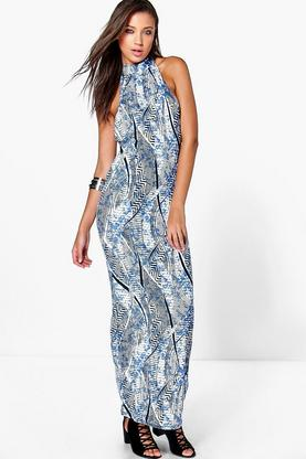 Tall Eva High Neck Low Armhole Aztec Maxi Dress