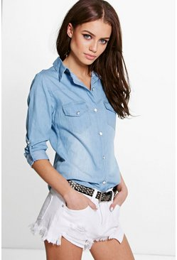 Tanya Roll Sleeve Denim Shirt