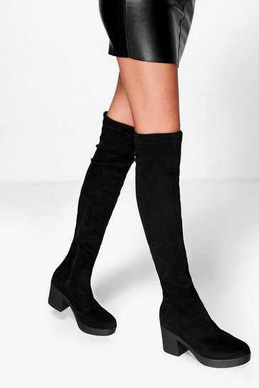 Black Cleated Stretch Over The Knee Boots
