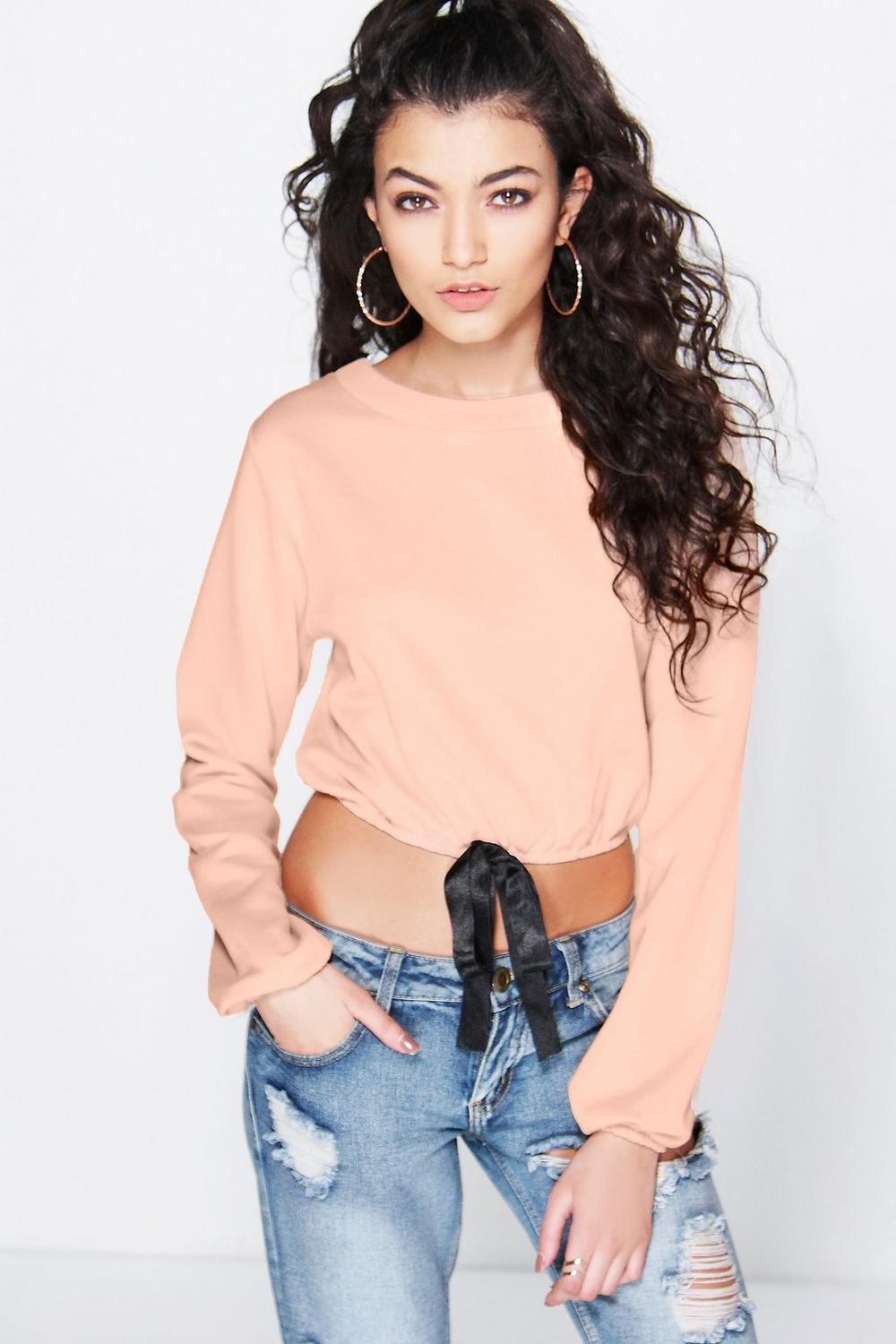 Leah Bow Front Cropped Sweat