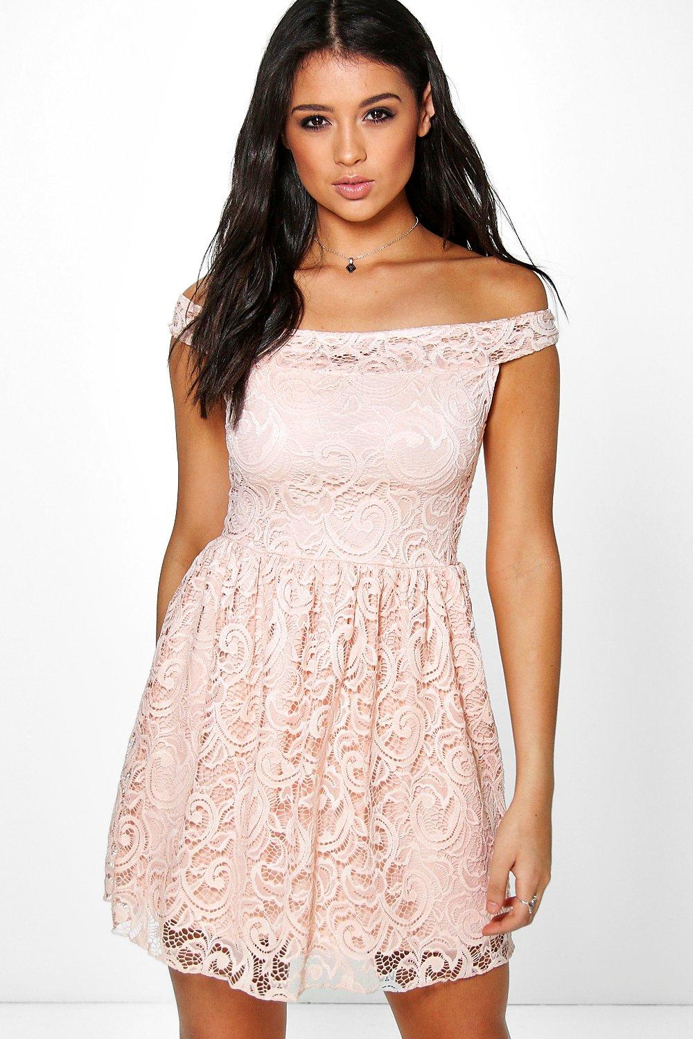 Casandra Lace Off The Shoulder Skater Dress