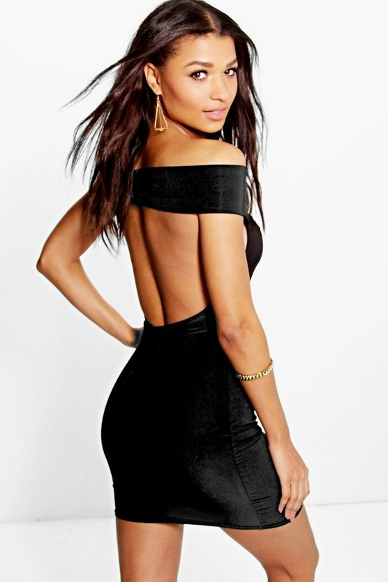 Eva Off The Shoulder Low Back Slinky Dress
