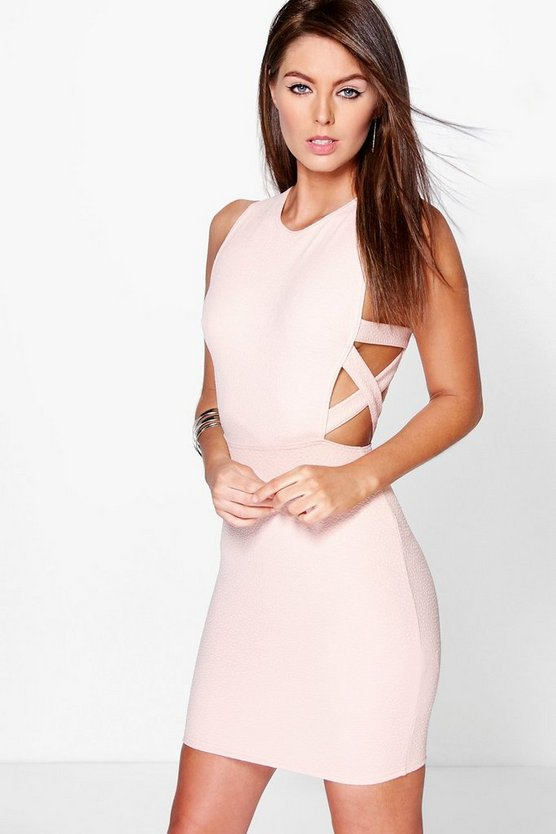 Delia Lattice Side Textured Bodycon Dress