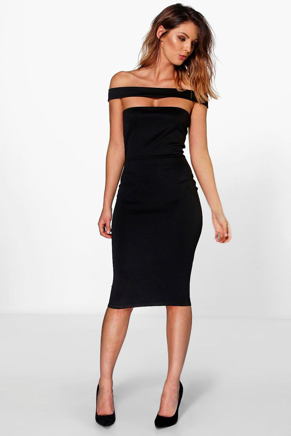 Julia Off The Shoulder Band Detail Midi Dress