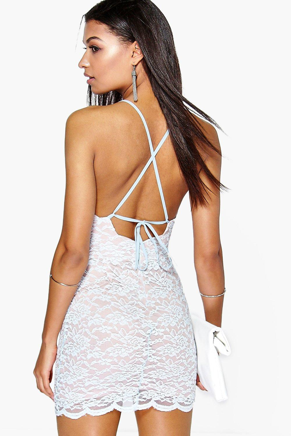 Sally Lace Strappy Back Bodycon Dress