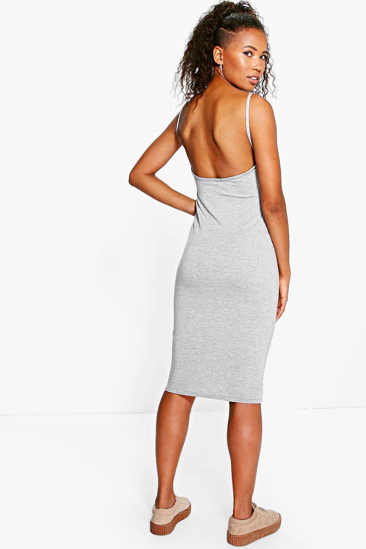 Scoop Back Midi Dress grey