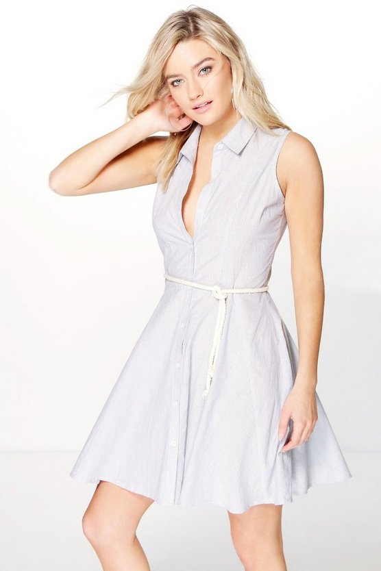 Sophia Skirted Sleeveless Shirt Dress