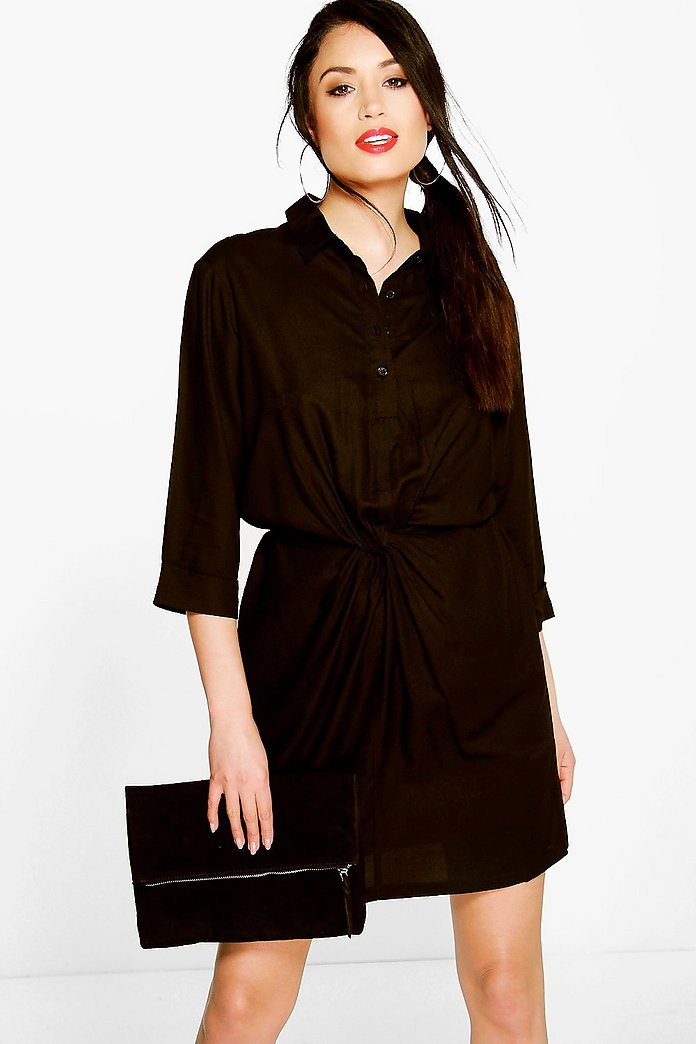 Ella Twist Front Sleeveless Shirt Dress