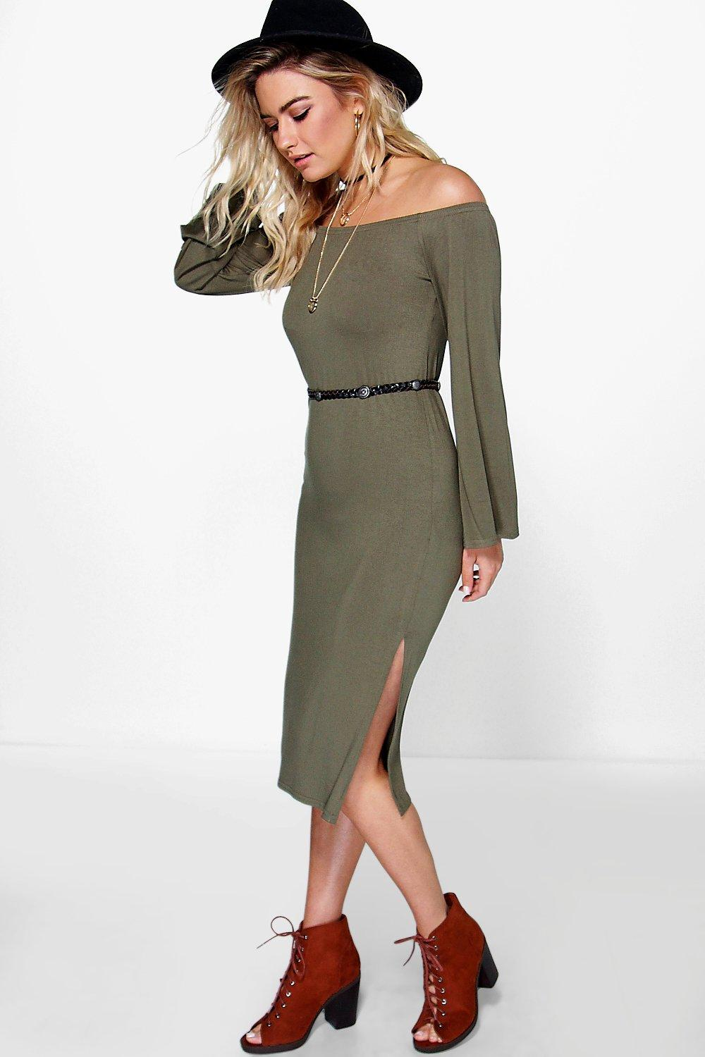 Melli Off The Shoulder Flare Sleeve Midi Dress