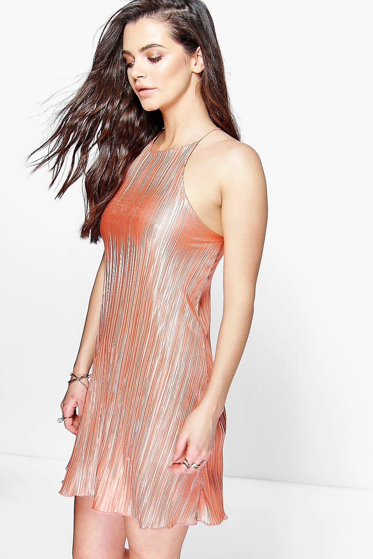 Strap Pleated Slip Dress - peach