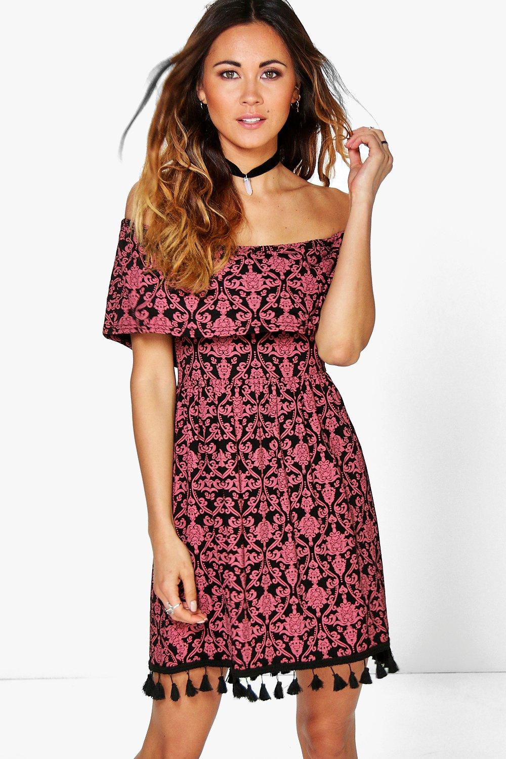 Tira Paisley Off The Shoulder Tassel Swing Dress