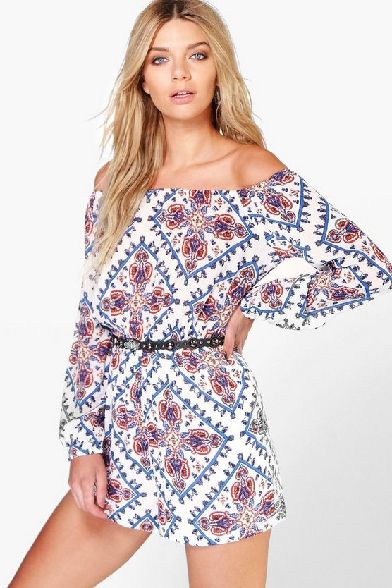Zoe Off The Shoulder Aztec Print Woven Playsuit