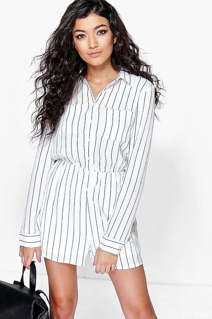 Ada Striped Shirt Style Playsuit