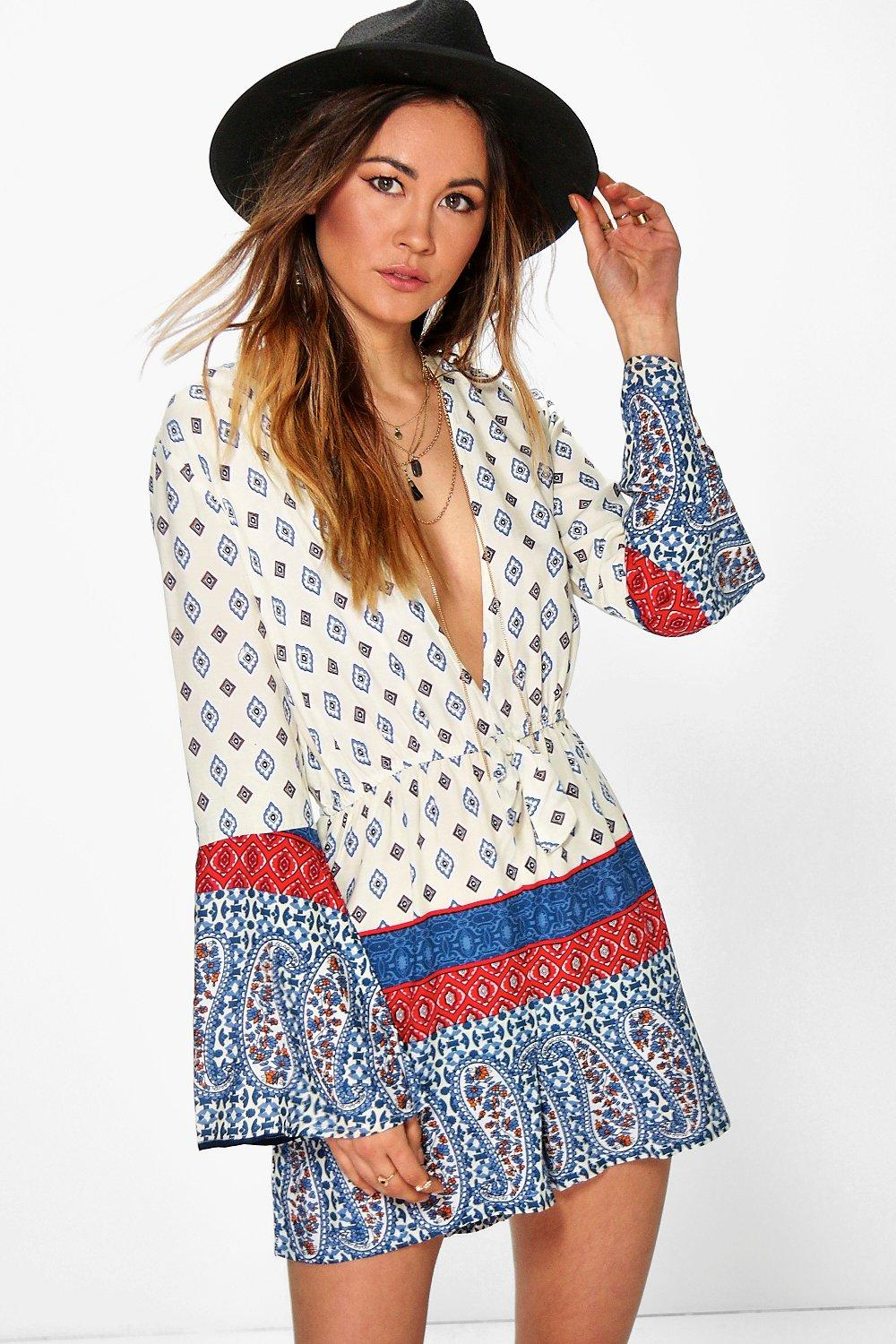 Fia Border Print Deep Plunge Playsuit