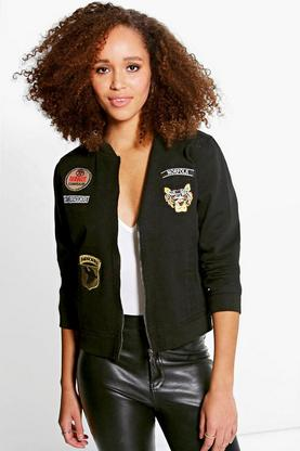 Kaley Denim MA1 Bomber Jacket With Badges