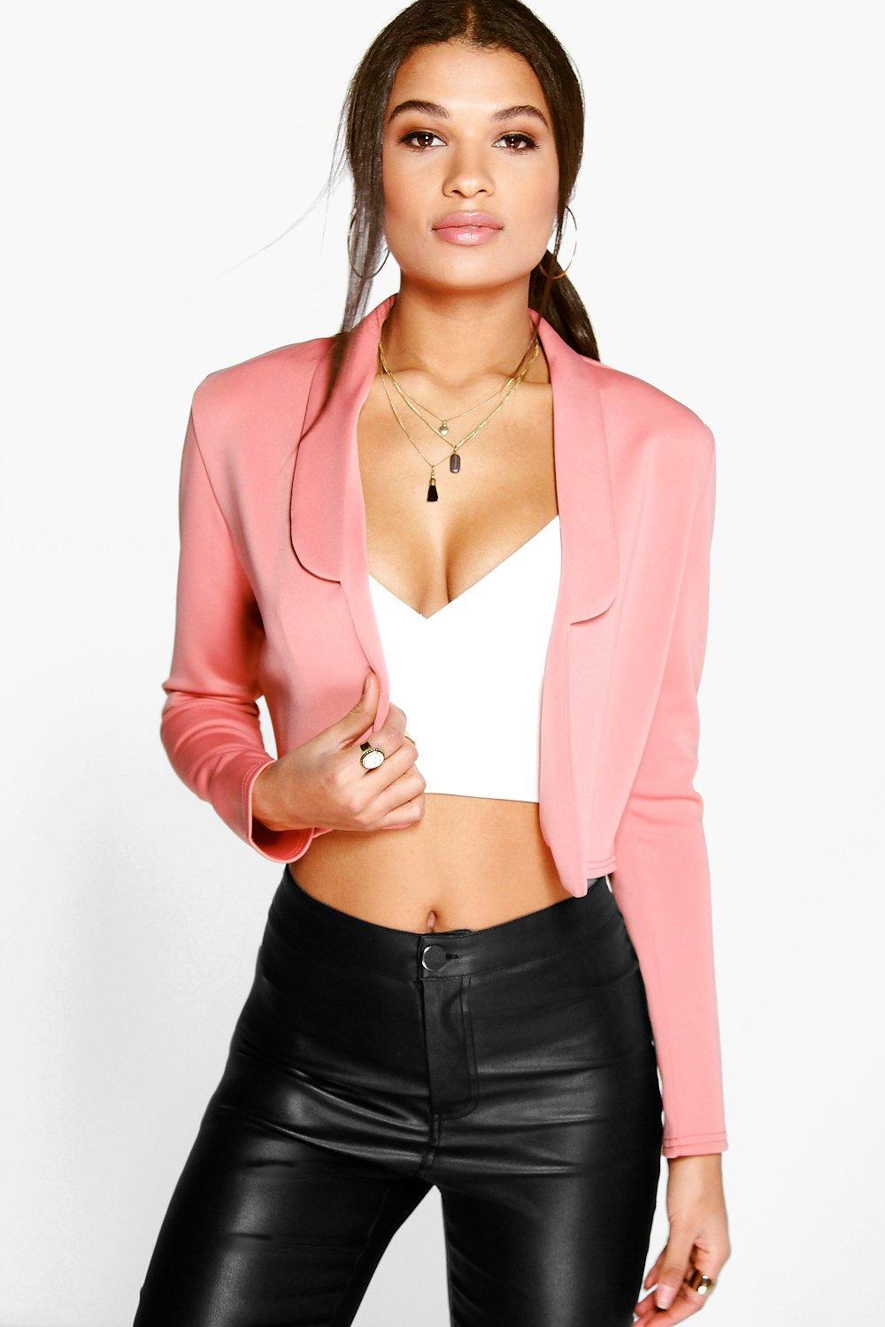 Crop Collared Blazer rose