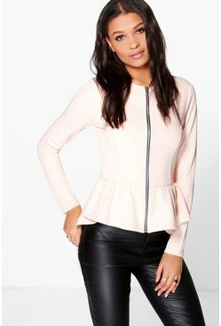 Grace Peplum Zip Up Jacket