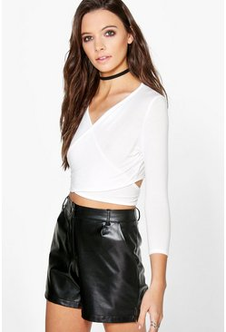 Nicole Wrap Over 3/4 Sleeve Crop