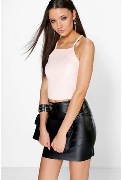 Paige Square Neck Crepe Crop Top