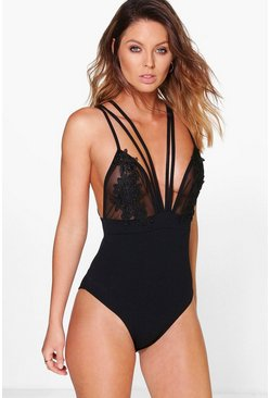 Anna Multi Strap Applique Mesh Bodysuit