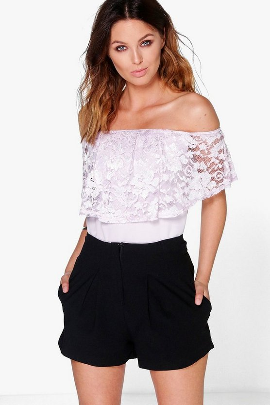 Lizzie Pastel Lace Off The Shoulder Top