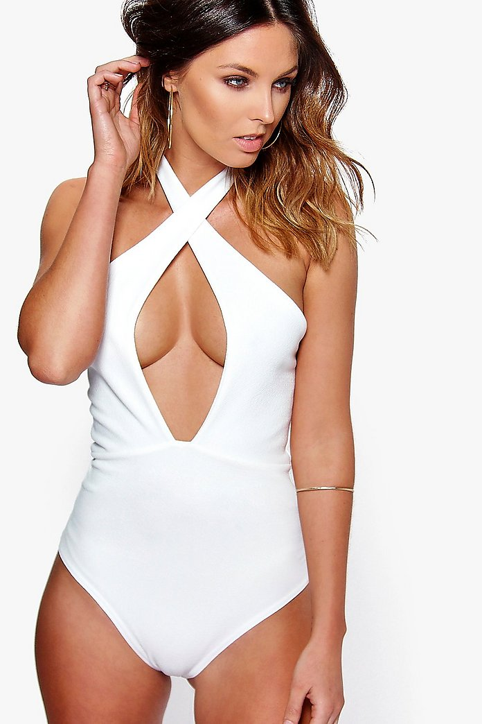 Cathy Textured Halter Plunge Body