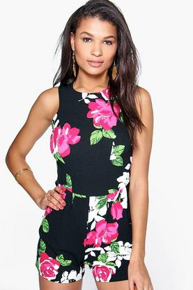 Monique Floral Print Sleeveless Playsuit