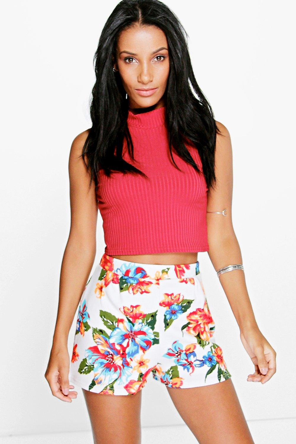 Imogen Longer Length Floral Print Smart Shorts