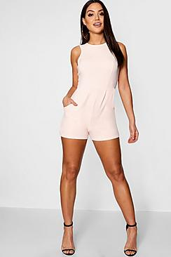 Lily Crepe Sleeveless Playsuit