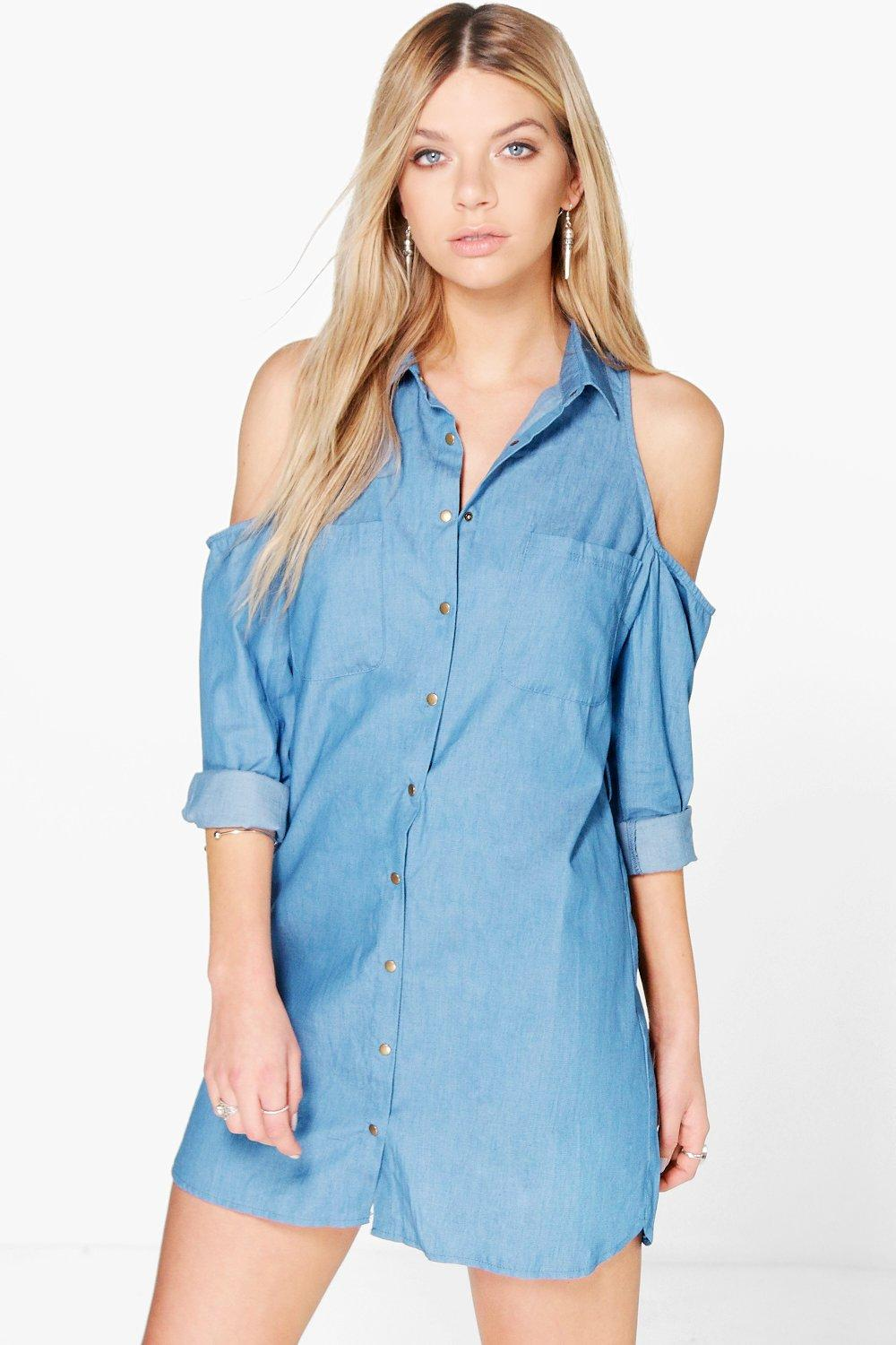 Excellent Womens Casual Flared Button Down Chambray Denim Shirt Dress CLEARANCE