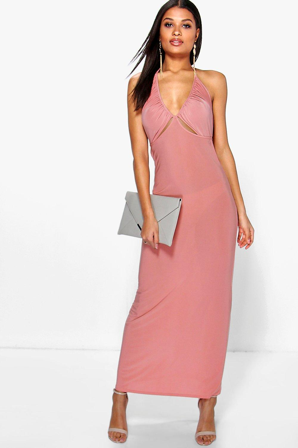 Dalia Ruched Halterneck Cut Out Maxi Dress