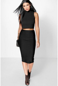 Luella Deep Rib Longer Line Midi Skirt