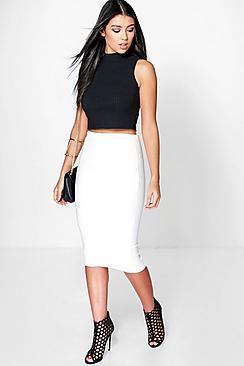 Luella Deep Rib Longer Line Midi Skirt