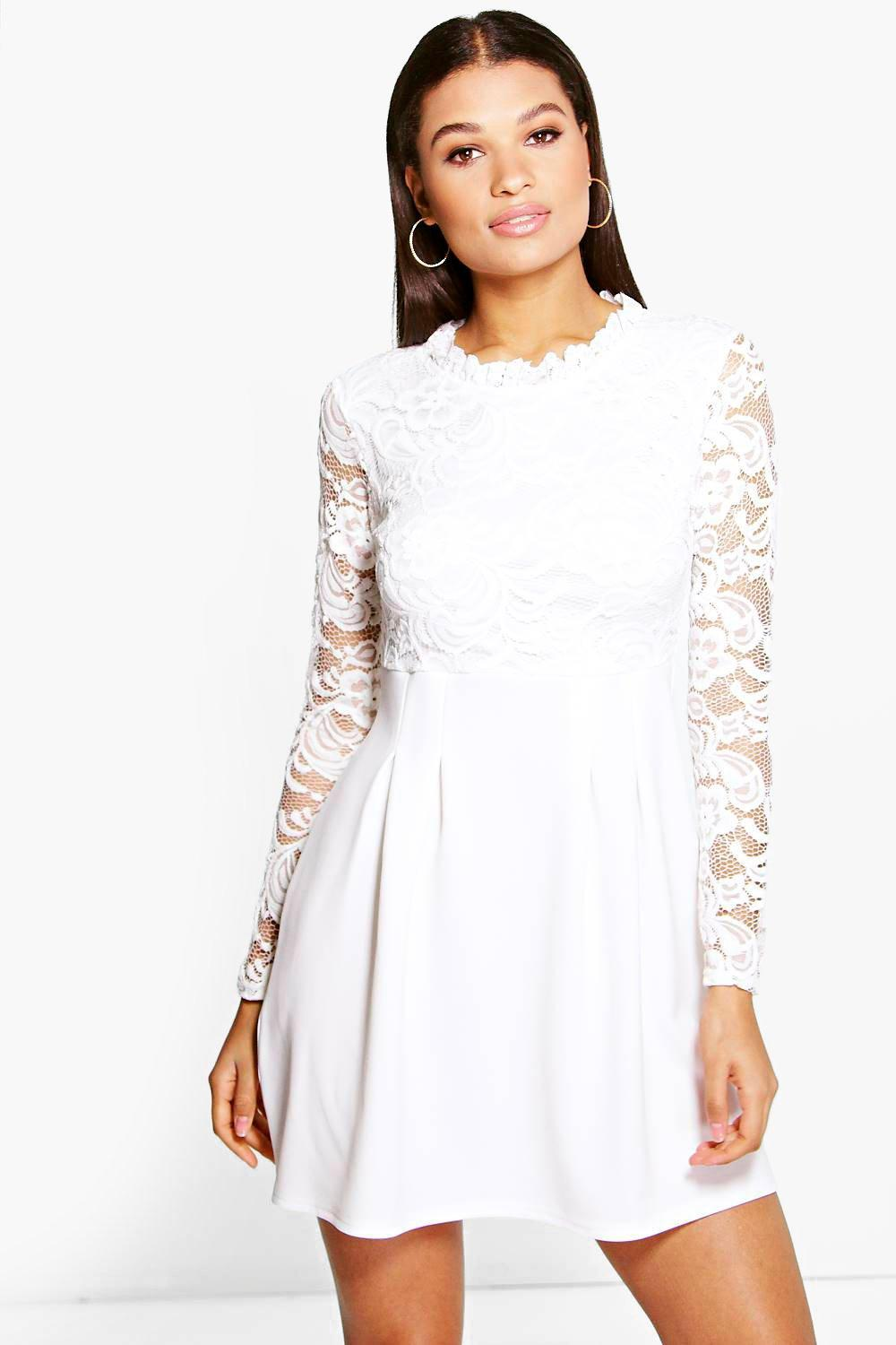Lisa High Neck Lace Skater Dress