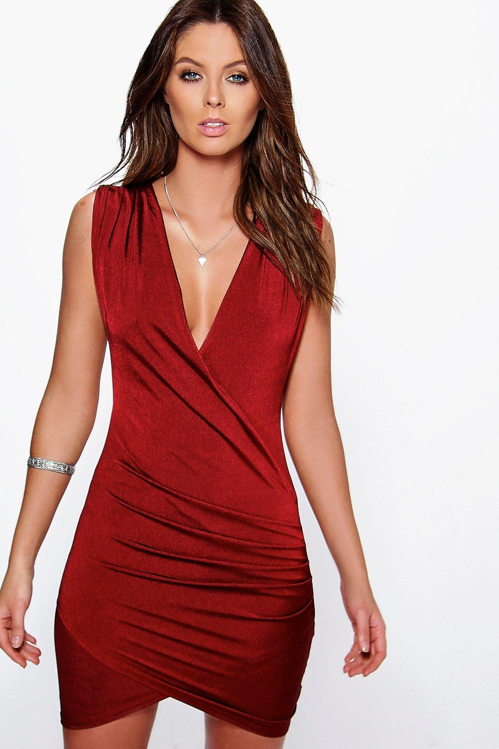 Miyah Slinky Drape Front Bodycon Dress