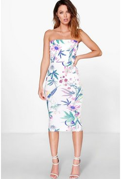 Lilly Bandeau Tie Waist Floral Print Midi Dress