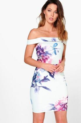 Kyle Floral Off The Shoulder Bodycon Dress