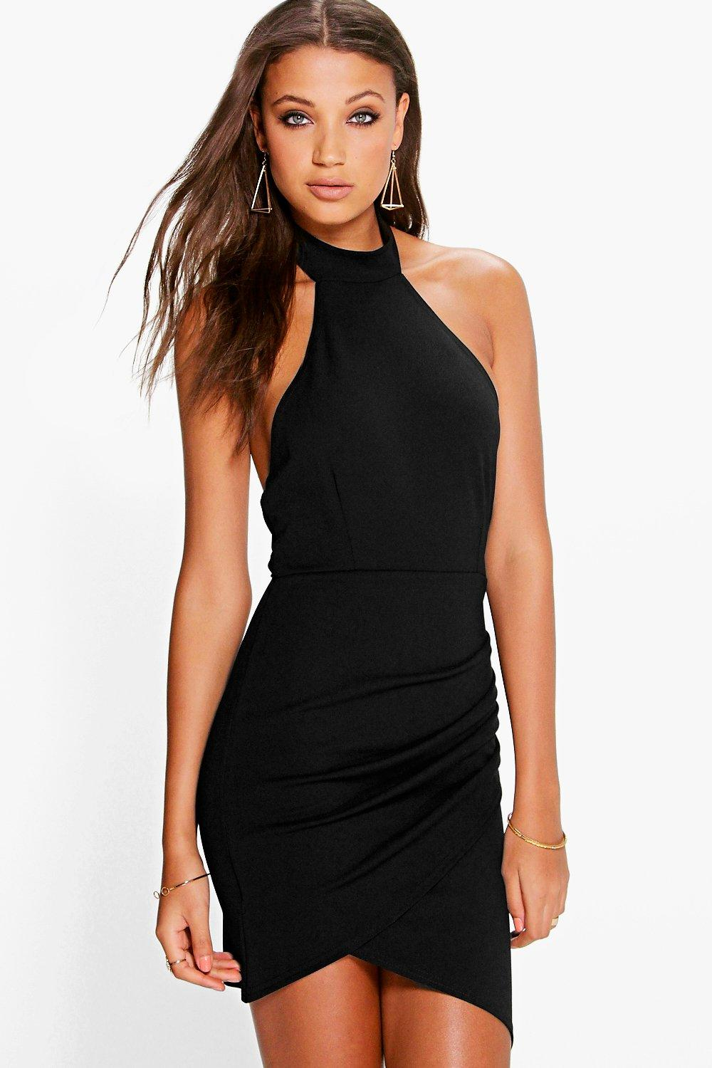Lucy High Neck Halter Wrap Skirt Bodycon Dress
